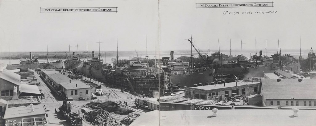 Fifteen ships being built at the shipyards (Lake Superior Maritime Collections, UW-Superior.)