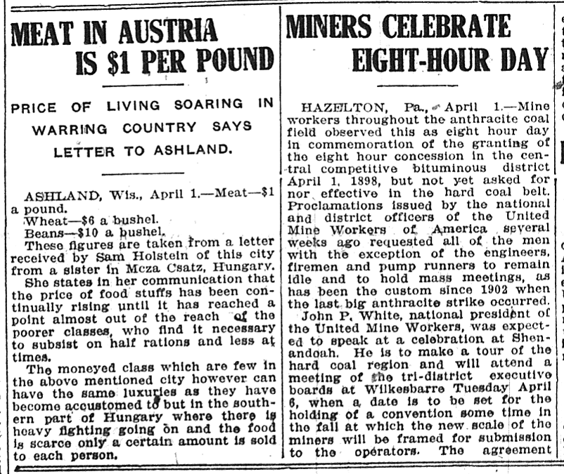 April 1, 1915 meat in austria
