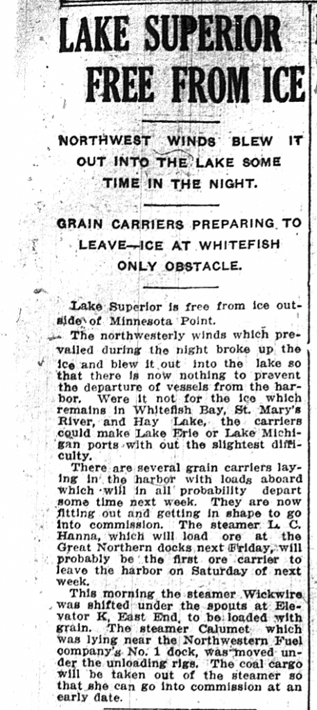 This short article explains a little bit about the shipping season in the North. (Superior Telegram. April 10, 1917. Superior Public Library.)