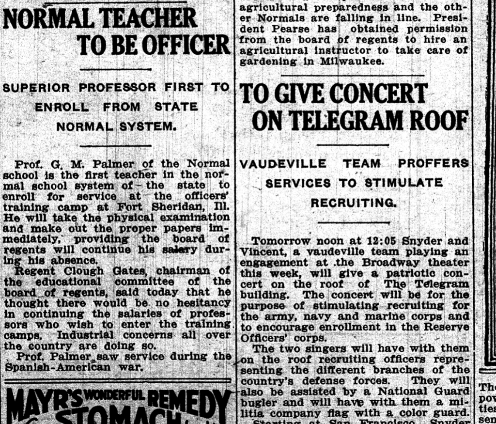 This article proudly tells local residents that Professor Palmer of the Normal School was the first from the Normal School System to enlist. (Superior Telegram. May 1, 1917. Superior Public Library.)