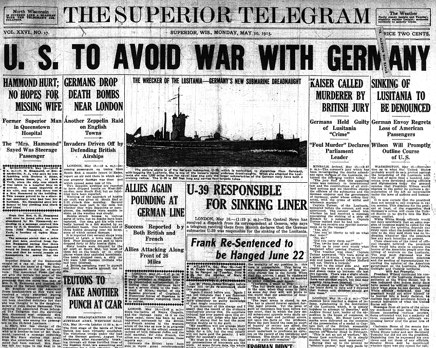 May 10, 1915 us to avoid war