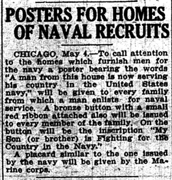 May 4, 1917 Telegram naval posters for men