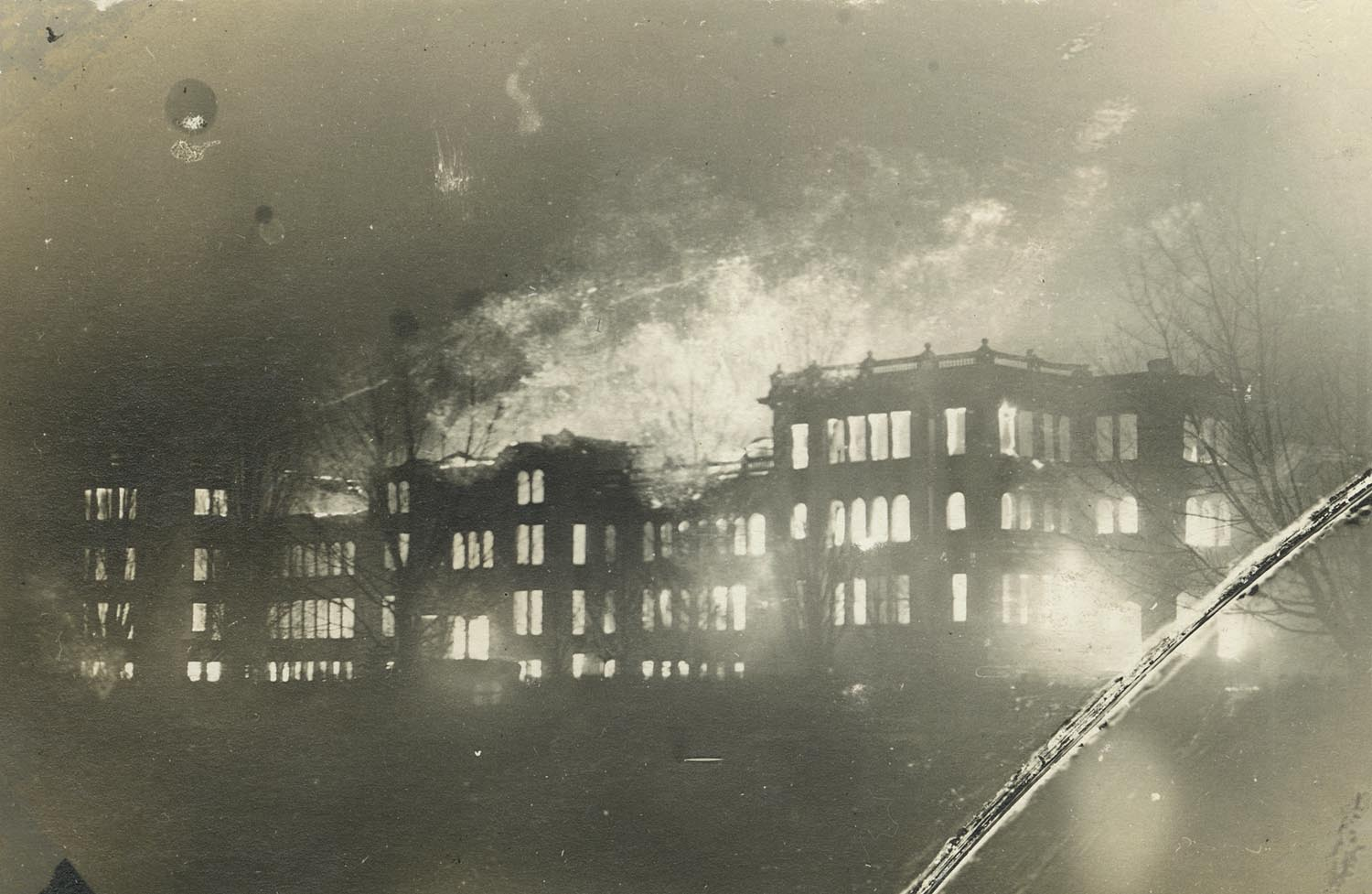 "The State Normal School's only academic building burned down on March 27, 1914. Classes were moved to the nearby high school, with not a day of class missed. A new academic building, now called ""Old Main,"" was built in the same year and is still currently part of the UW-Superior Campus."