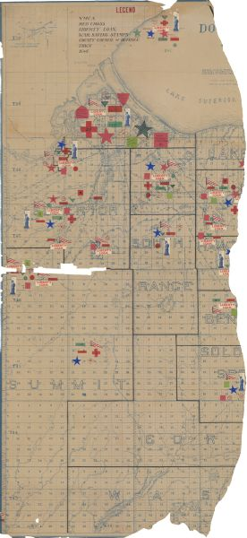WHS photo of war map in douglas county