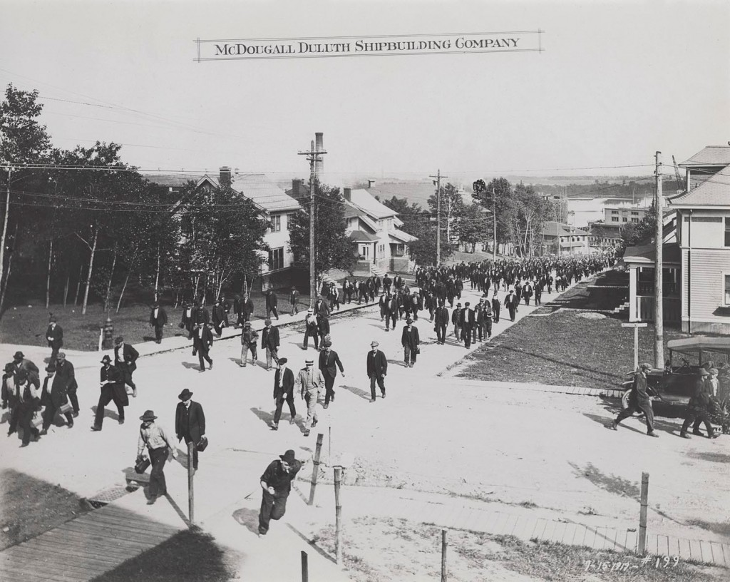 Men Leave McDougall Shipyards After Work, 1919 (Lake Superior Maritime Collections, UW-Superior.)