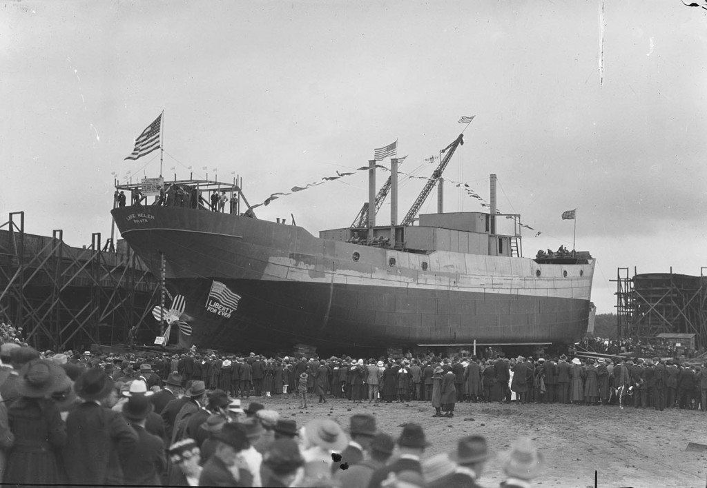 Liberty For Ever, the launching of Lake Helen (Lake Superior Maritime Collections, UW-Superior.)