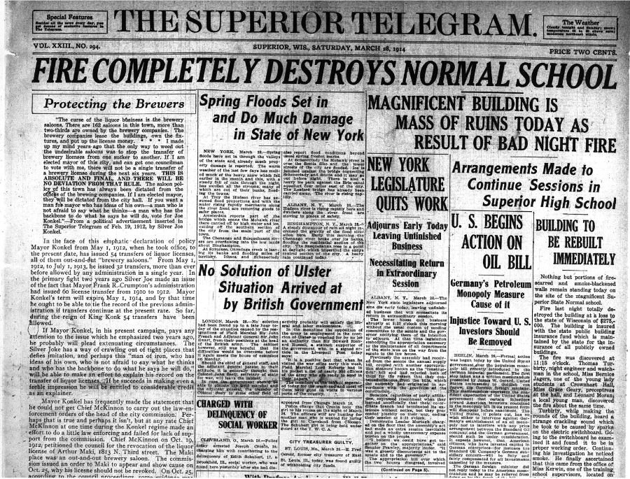 The fire made front page news the day after it occurred. (Superior Telegram, Mar. 28, 1914.)