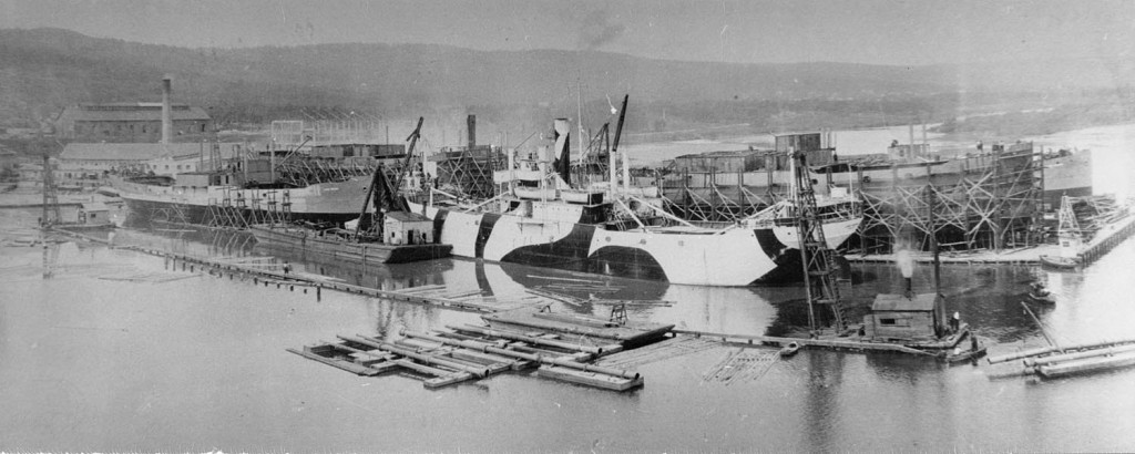 Duluth's McDougall Shipbuilding Yard during the Great War (Lake Superior Maritime Collections, UW-Superior.)