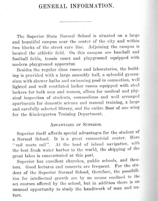 Hoping to inspire more students to enroll, the Superior Normal School wrote at length about the good points about the city. (June 1913 Bulletin of the State Normal School. University Archives, UW-Superior Special Collections.)