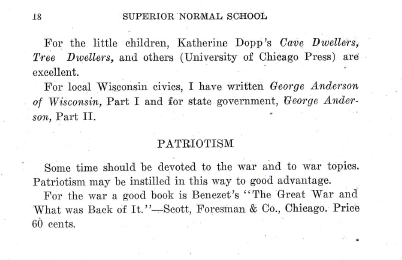"At the end of the History Games brochure, there is a section called ""Patriotism."" It is interesting to note that the German Club disappeared from the school bulletins after 1916, though the German was still taught as a course."