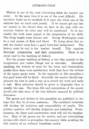 First Page of History Games and Devices Handbook