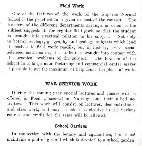 In 1918, a new section was included in the school bulletin; War Service Work.